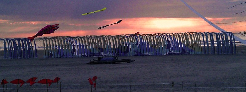 Kite Festival Banners at Sunset